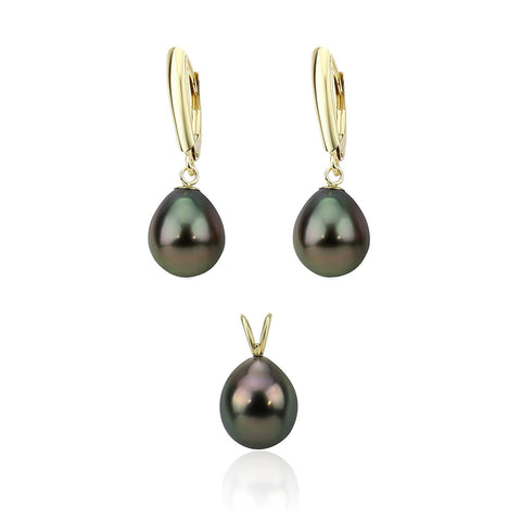 14K Yellow Gold 9.0-10.0mm Pear Black Tahitian Cultured Pearl Pendant and Lever Back Earring Sets-03