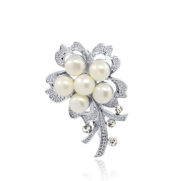 White Freshwater Cultured Pearl flower brooch with Rhinestones