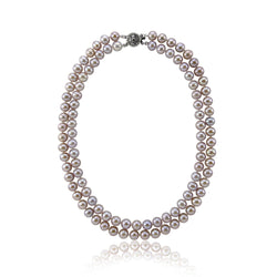 "2 Rows 8-9mm Lavender High Luster Freshwater Cultured Pearl Necklace 17""-18"" with base-metal-clasp"