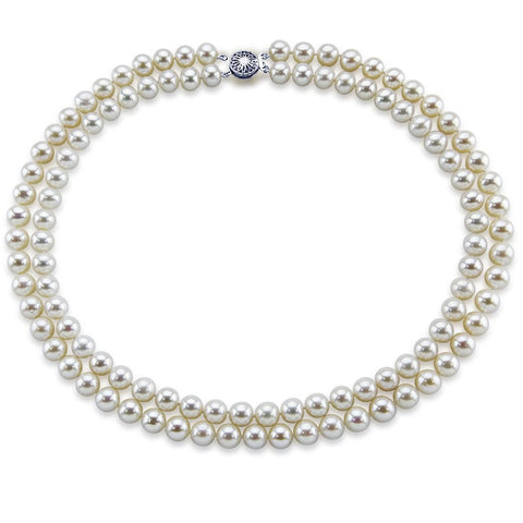 14k White Gold Double Strand 8.0-9.0mm White Freshwater Cultured Pearl Necklace AAA Quality 18 Inches