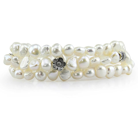 "Genuine Freshwater Cultured Pearl 7-8mm Stretch Bracelets with base beads (Set of 3) 7.5"" (White)"