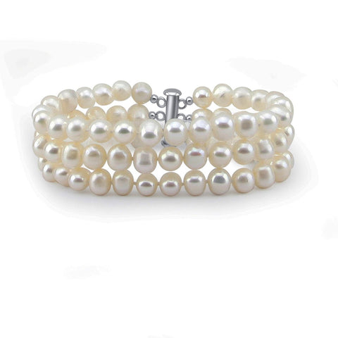 3-Row White A Grade 6.5-7mm Freshwater Cultured Pearl Bracelet with base metal clasp, 8""