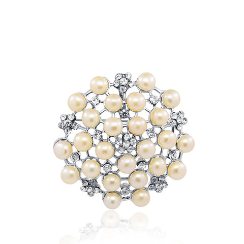 Pink Flower- Freshwater Cultured Pearl brooch with Rhinestones