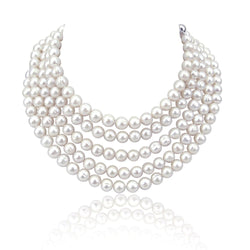 Handpicked 8.5-9.5 mm Lustrous White Circlé Baroque Freshwater Cultured Pearl Endless Necklace, 82""