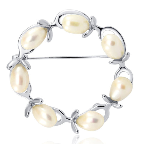 Olive Branches Freshwater Cultured Pearl brooch -White (rhodium plated base metal setting)