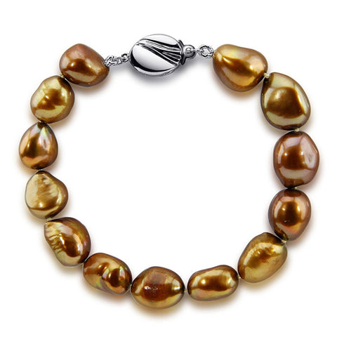 "10.0-11.0mm High Luster Brown Baroque Freshwater Cultured Pearl Bracelet 7.5"" with base metal clasp"