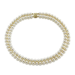 14k Yellow Gold Double Strand 8.0-9.0mm White Freshwater Cultured Pearl Necklace AAA Quality 20 Inches
