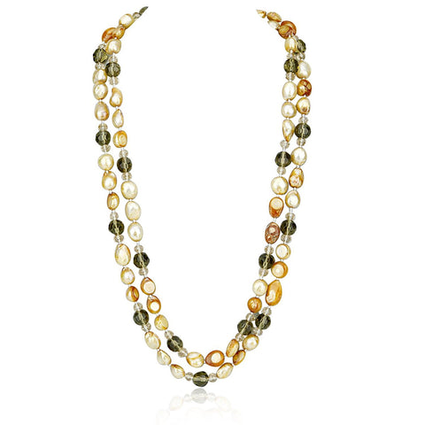 Champagne Freshwater Cultured Pearl and bead Endless Necklace 48""