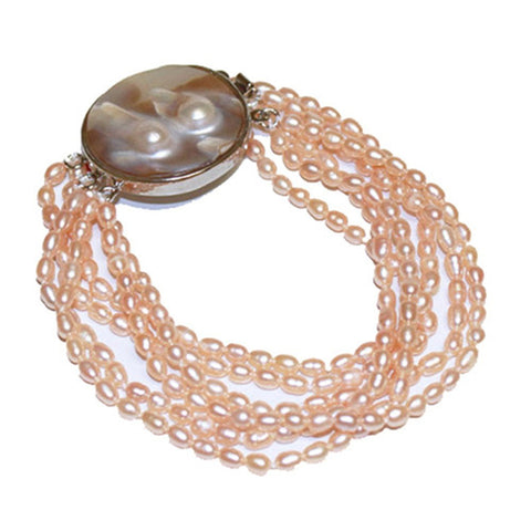 4-5mm Pink Freshwater Cultured Pearl Bracelet Multi Stands with Mother-of-pearl-base-metal-clasp, 7.5""