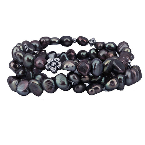 "Genuine Freshwater Cultured Pearl 7-8mm Stretch Bracelet with base-metal-bead 7.5"" (Dark-Chocolate-Brown)"