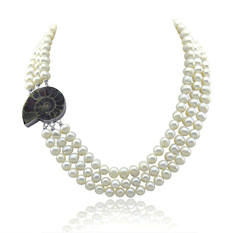 "3-row White A Grade Freshwater Cultured Pearl Necklace with Fossil Clasp (6.5-7.5mm), 17"", 18""/18.5"""