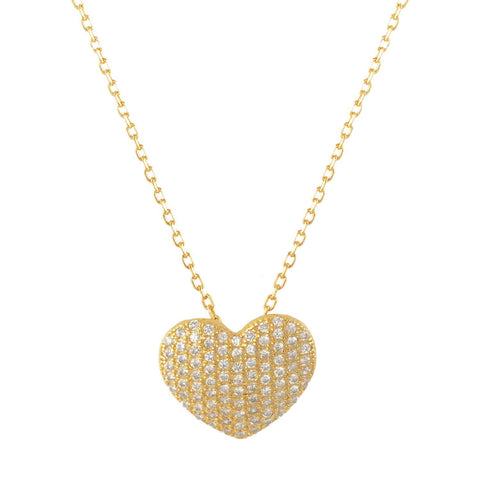 Sterling Silver Cubic Zirconia Pave Heart Necklace 18 Inches- Yellow-gold-flashed Silver