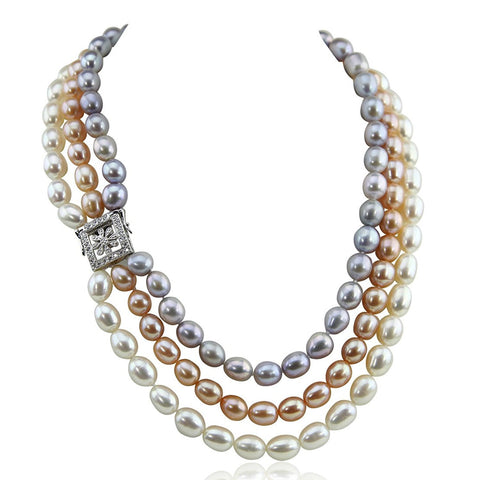 "3 Row 8.0-9.0 mm Ultra Luster Multi Color Oval Freshwater Cultured Pearl necklace 17/18/20"" Base clasp"