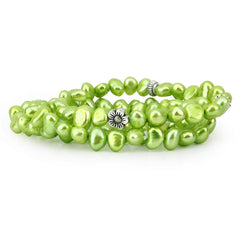 "Genuine Freshwater Cultured Pearl 7-8 mm Stretch Bracelets with base-metal-beads (Set of 3) 7.5"" (Forest Green)"