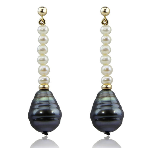 14K Yellow Gold 4-5mm Freshwater Cultured Pearl 10-11mm Baroque Tahitian Cultured Pearl dangle Earring
