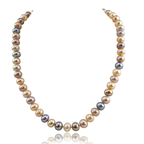 14K White Gold 8.5-9.5 mm Ultra Luster Multi Color Freshwater Cultured Pearl necklace 18""