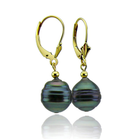 10-11mm High Luster Baroque Tahiti Cultured Pearl Lever-back Earrings-02