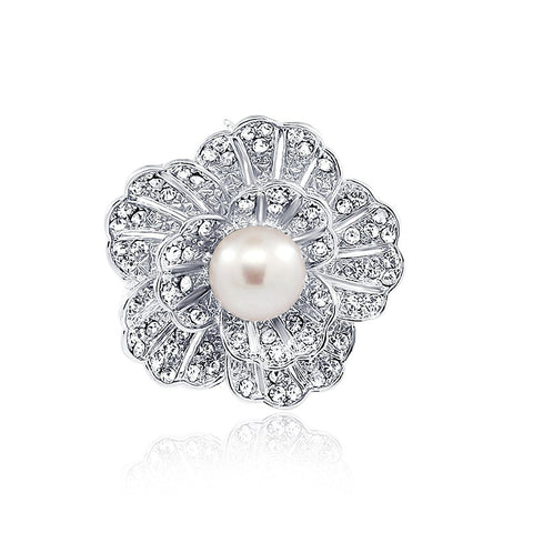 Lavender Freshwater Cultured Pearl Flower brooch with Rhinestones