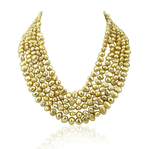 5 row High Luster Champagne Freshwater Cultured Pearl necklace with mother-of-pearl base metal clasp