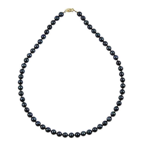 "14k Yellow Gold 7-8 mm Black Akoya Cultured Pearl High Luster Necklace 18"" Length, AAA Quality."