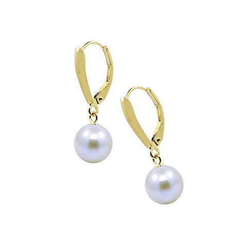 14k Yellow Gold 8.5-9.0mm High Luster White Freshwater Cultured Pearl Lever back Earring.