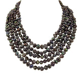 5 row High Luster Dark-Chocolate-Brown Freshwater Cultured Pearl necklace with mother-of-pearl base metal clasp