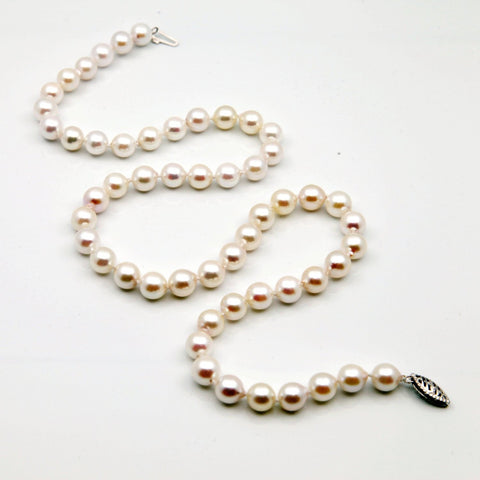 "14k White Gold 7.0-8.0mm White Baroque Akoya Cultured Pearl High Luster Necklace 18"" Length"