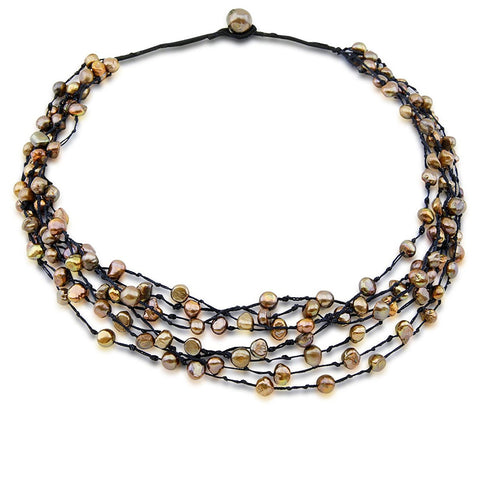 Genuine 8-Row Hand Woven Brown Freshwater Cultured Pearl Necklace 21""