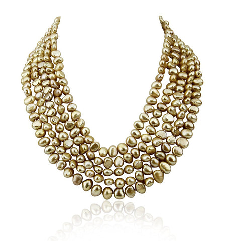 5 row High Luster Brown Freshwater Cultured Pearl necklace with mother-of-pearl base metal clasp