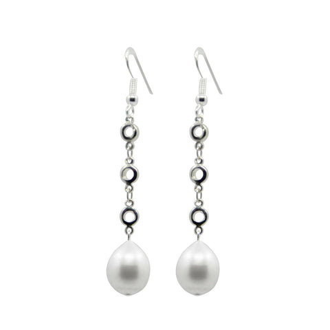 Unique Station Freshwater Cultured Pearl earring, White, 10-11MM