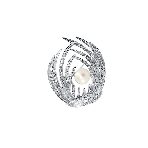 White Freshwater Cultured Pearl Win brooch with Rhinestones
