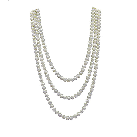 White Freshwater Cultured Pearl Endless Strand Necklace 60""