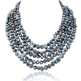 5 row High Luster Black Freshwater Cultured Pearl necklace with mother-of-pearl-base-metal-clasp.
