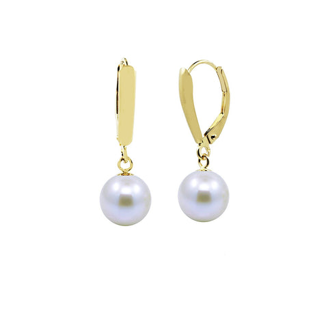 14k Yellow Gold 7.5-8.0mm Round Akoya Cultured Pearl High Luster, Leverback Earring, AAA Quality