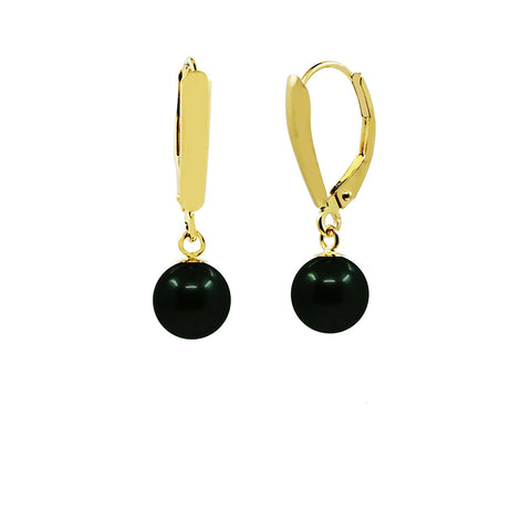 14k Yellow Gold 7.5-8.0mm High Luster Akoya Cultured Pearl Lever back Earring -Black with Peacock tone