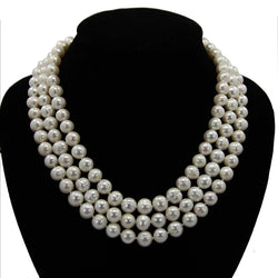 "9.0-10.0 mm 3-row Handpicked Ultra-Luster White Circlé Freshwater Cultured Pearl Necklace 17"", 18""/19"""