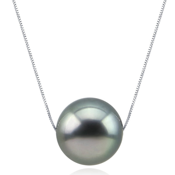 Akwaya Lulutong Lucky Pendant 9-10 mm Black Tahitian Cultured Pearl Sterling Silver Pendant Necklace for Women