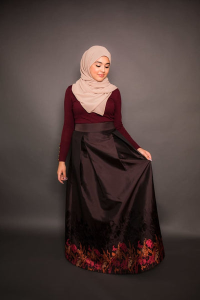Firdows Kedir - Skirt - Afflatus Hijab - Black Casual Dressy Fashion Floral