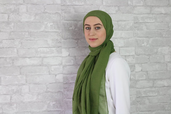 Military Green Cotton Hijab - Afflatus Hijab - Cotton