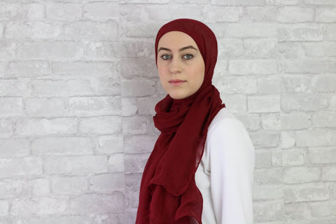 Red Wine Cotton Hijab - Afflatus Hijab - Cotton