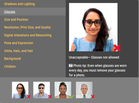 Glasses not allowed for passport photo