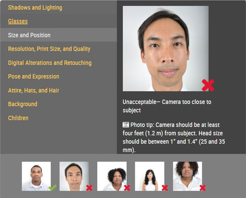 passport photo's positioning is important