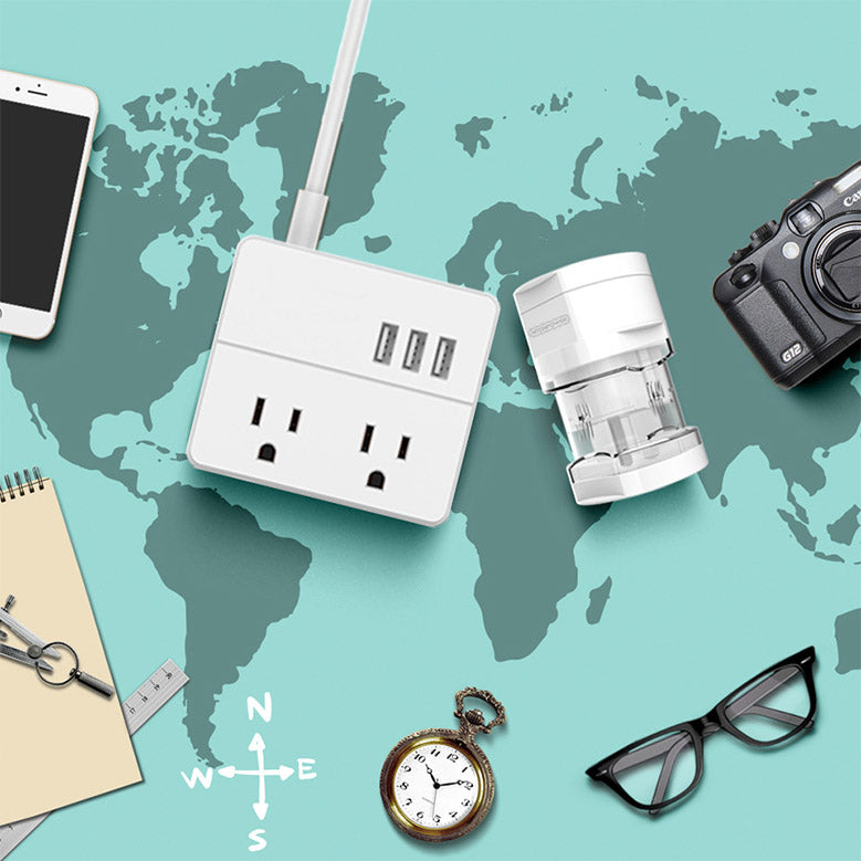 packing travel adapter with other travel items