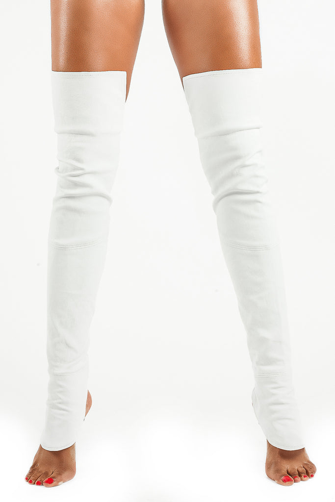 The Leg Glove- Rain in White                • Genuine Stretch Lambskin Leather• - The Leg Glove