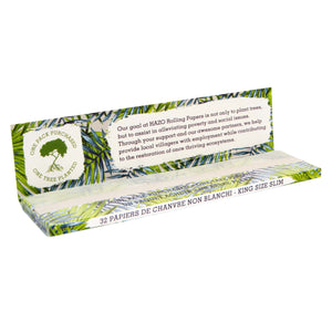 Box of 50 king size slim unbleached hemp rolling papers