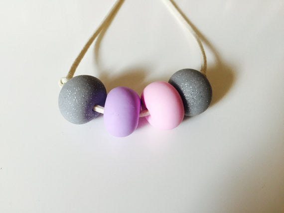 Girls polymer clay necklace-grey