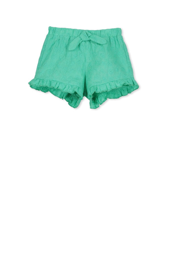 Broderie short fresh green
