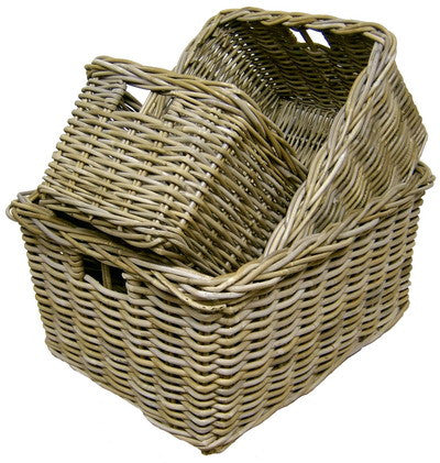 S/3 Rectangle Rattan Storage Baskets with Cut-Out Handles