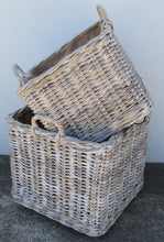 Kubu Grey and White Wash Log Baskets
