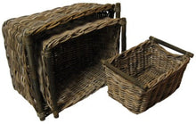 S/3 Rectangle Rattan Storage Baskets with Pole Handles
